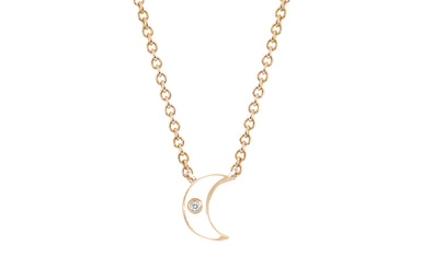 Diamond & White Enamel Moon Necklace