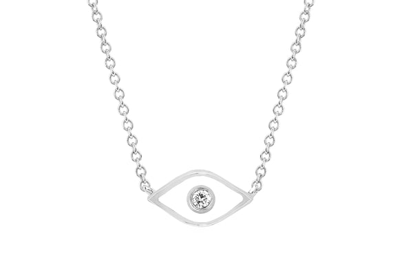 Diamond & White Enamel Evil Eye Necklace