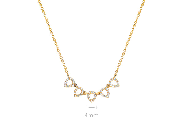 5 Diamond Open Teardrop Choker Necklace