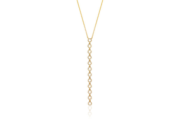 Diamond Open Circle Vertical Drop Necklace