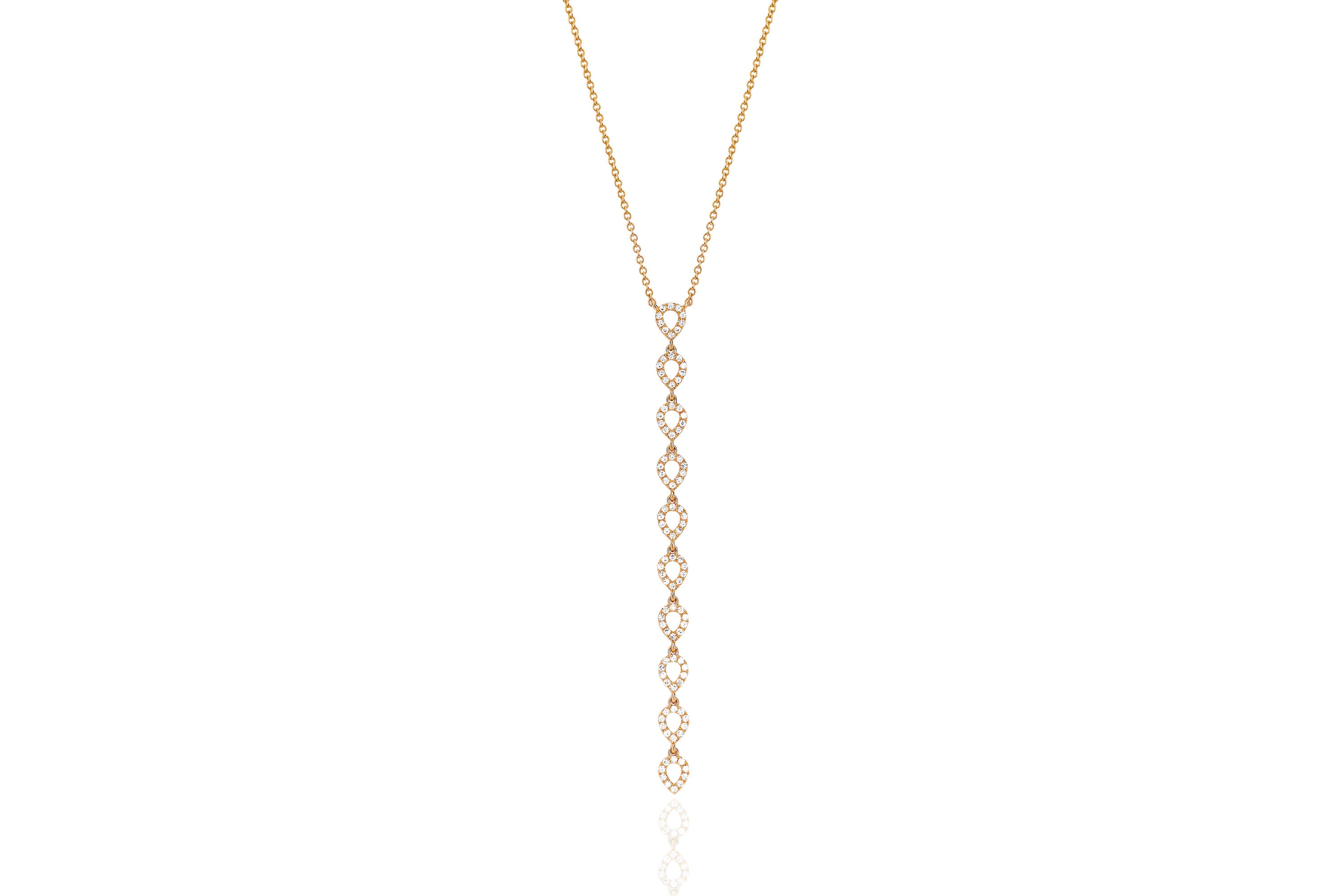 Diamond Open Teardrop Vertical Drop Necklace