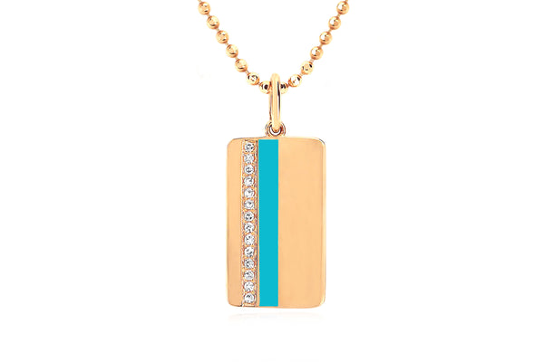 Diamond & Turquoise Enamel Vertical Stripe Necklace