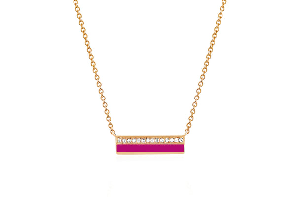 Mini Diamond & Berry Enamel Bar Necklace