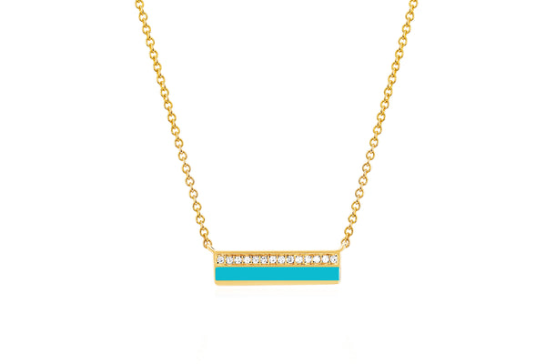 Mini Diamond & Turquoise Enamel Bar Necklace