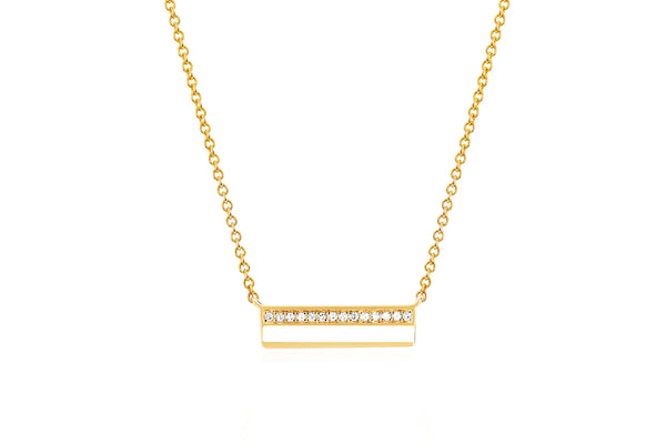 Mini Diamond & White Enamel Bar Necklace