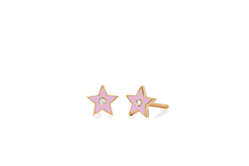 Diamond & Light Pink Enamel Star Stud Earring