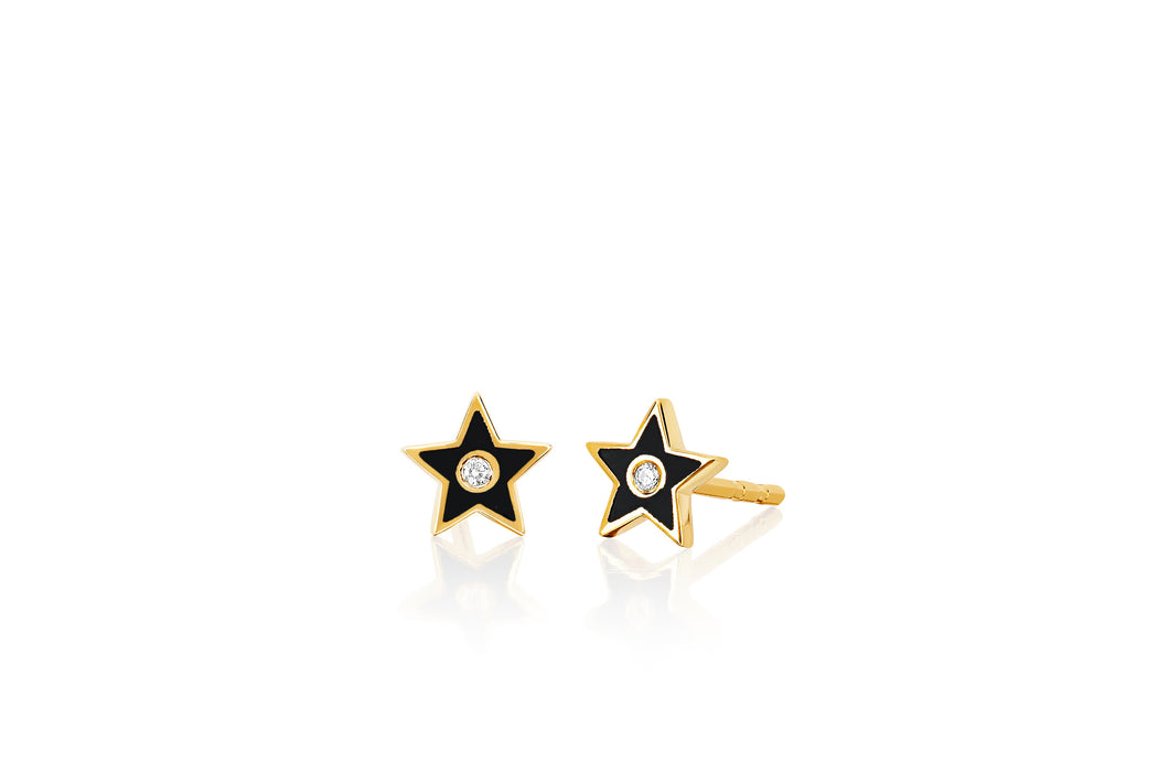 Diamond & Black Enamel Star Stud Earring