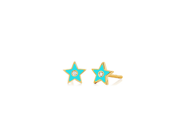 Diamond & Turquoise Enamel Star Stud Earring
