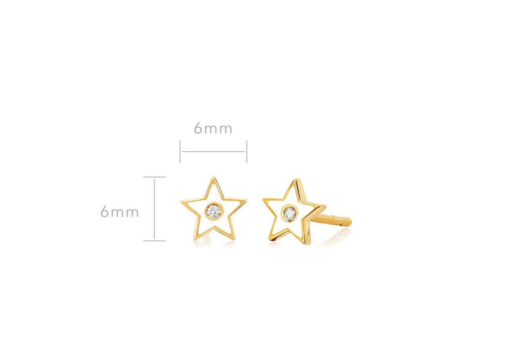 Diamond & White Enamel Star Stud Earring
