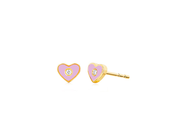 Diamond & Light Pink Enamel Heart Stud Earring