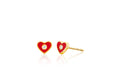 Diamond & Red Enamel Heart Stud Earring