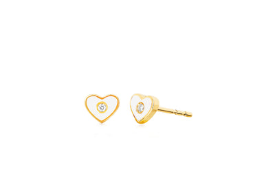 Diamond & White Enamel Heart Stud Earring