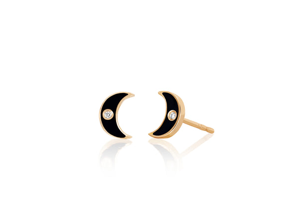 Diamond & Black Enamel Moon Stud Earring