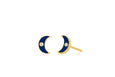 Diamond & Navy Enamel Moon Stud Earring