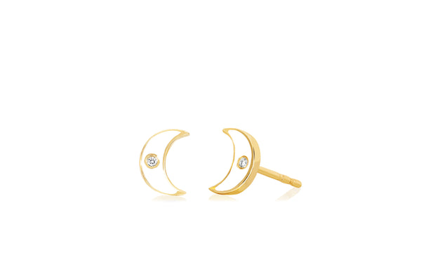 Diamond & White Enamel Moon Stud Earring