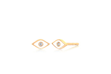 Diamond & White Enamel Evil Eye Stud Earring
