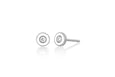 Diamond & White Enamel Bezel Stud Earring