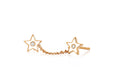 Diamond & White Enamel Double Star Chain Stud Earring