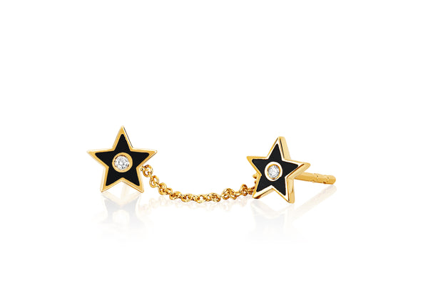 Diamond & Black Enamel Double Star Chain Stud Earring