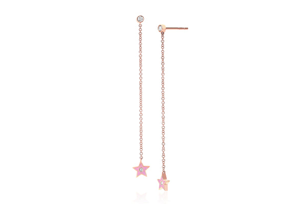 Diamond & Light Pink Enamel Star Chain Drop Earring