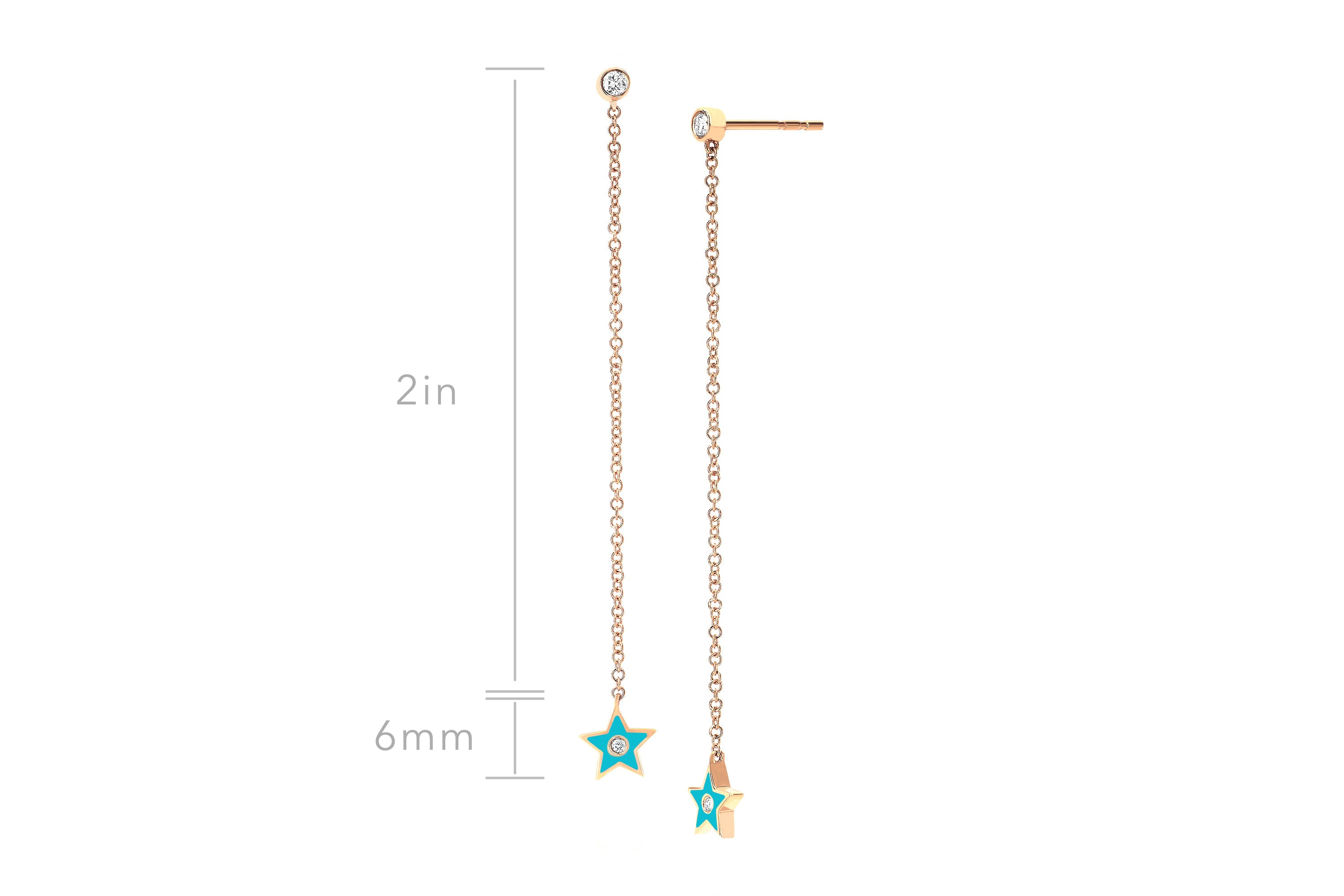 Diamond & Turquoise Enamel Star Chain Drop Earring