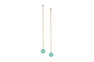 Diamond & Turquoise Enamel Bezel Chain Drop Earring