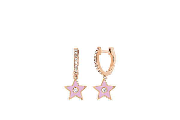 Diamond Huggie With Light Pink Enamel Star Drop Earring