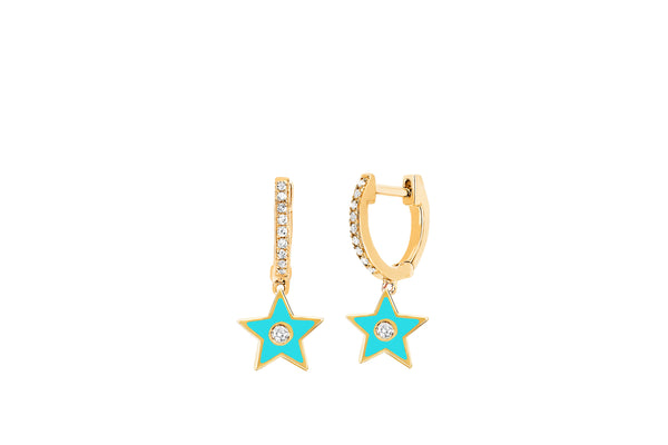 Diamond Huggie With Turquoise Enamel Star Drop Earring
