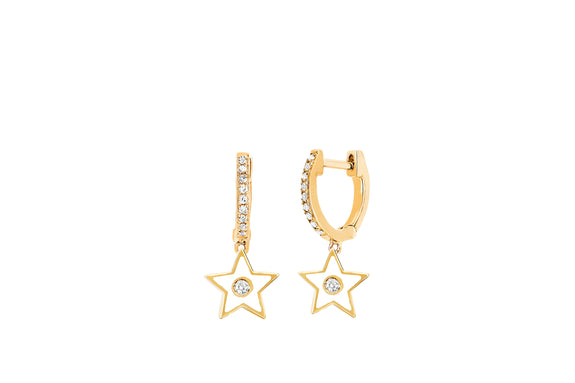 Diamond Huggie With White Enamel Star Drop Earring