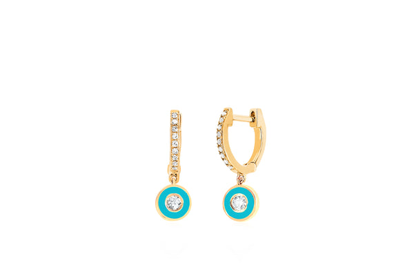Diamond Huggie With Turquoise Enamel Bezel Drop Earring