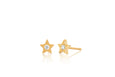 Gold & Diamond Star Stud Earring
