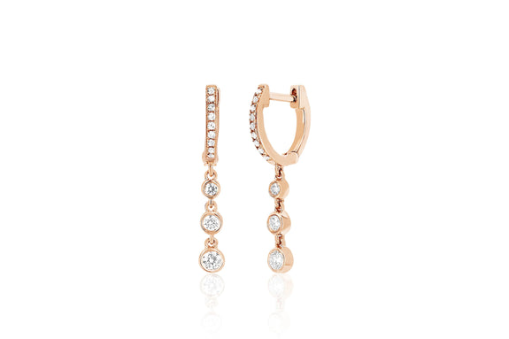 Diamond Huggie With Three Bezel Drop Earring