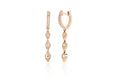 Diamond Huggie With Three Gold & Diamond Teardrop Drop Earring