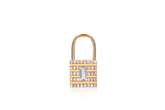 Single Diamond & White Topaz Lock Earring