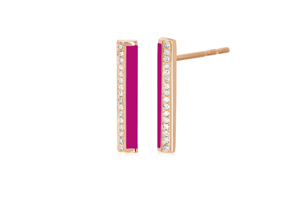Diamond & Berry Enamel Stripe Bar Stud Earring
