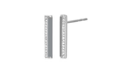 Diamond & Light Grey Enamel Stripe Bar Stud Earring