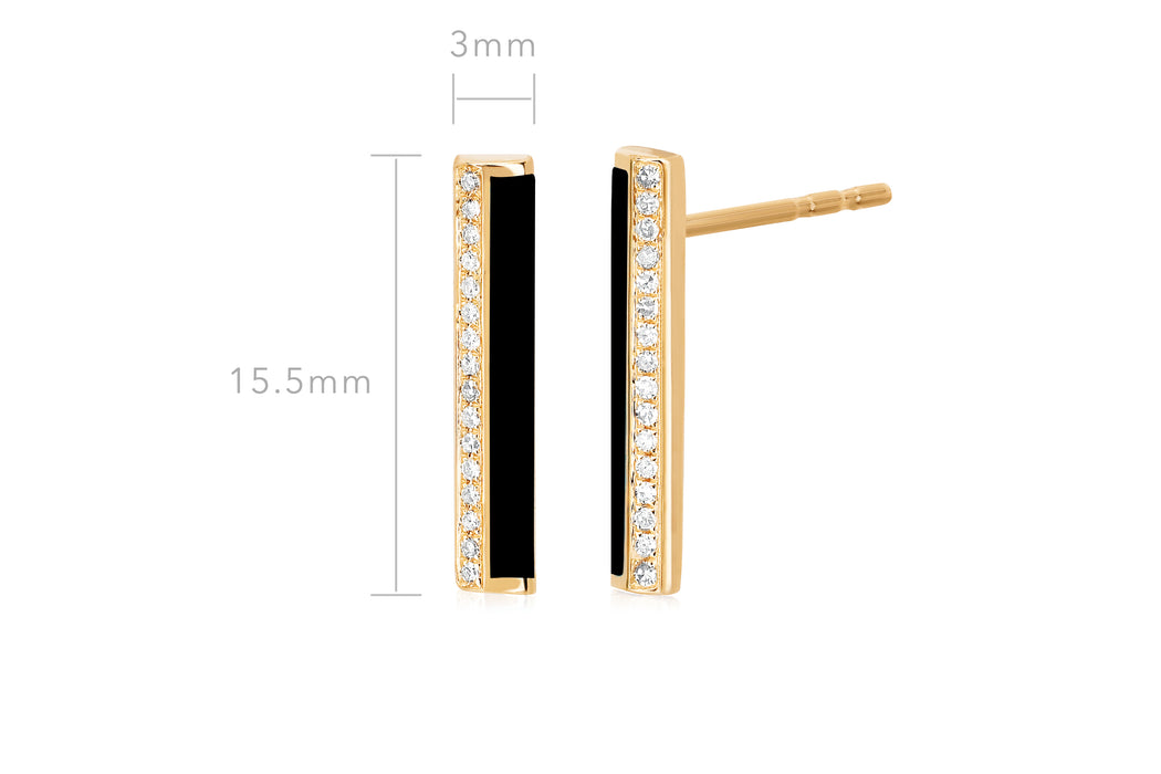 Diamond & Black Enamel Stripe Bar Stud Earring