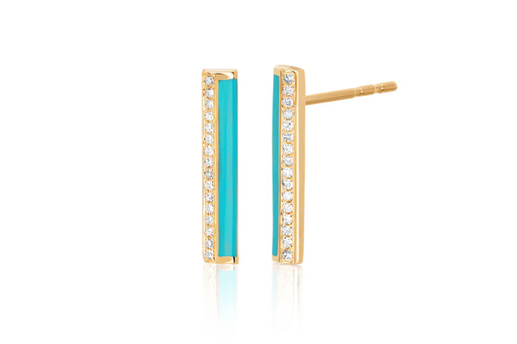 Diamond & Turquoise Enamel Stripe Bar Stud Earring