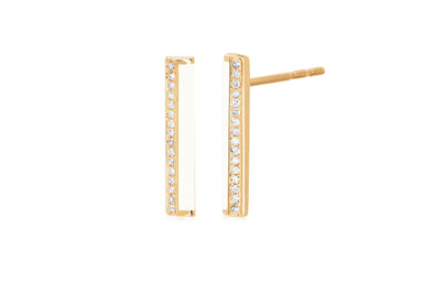 Diamond & White Enamel Stripe Bar Stud Earring