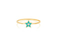 Diamond & Turquoise Enamel Star Stack Ring
