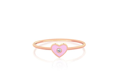 Diamond & Light Pink Enamel Heart Stack Ring