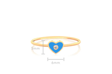 Diamond & Blue Enamel Heart Stack Ring