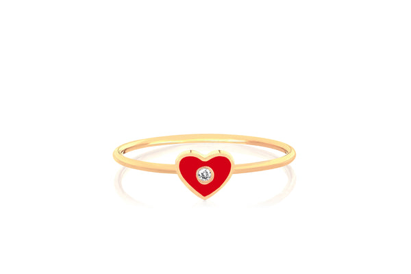 Diamond & Red Enamel Heart Stack Ring