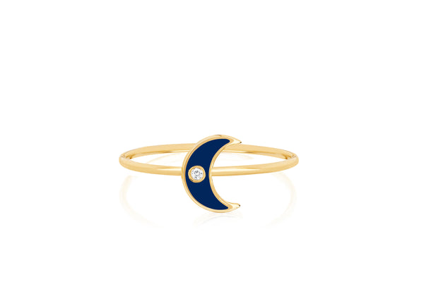 Diamond & Navy Enamel Moon Stack Ring