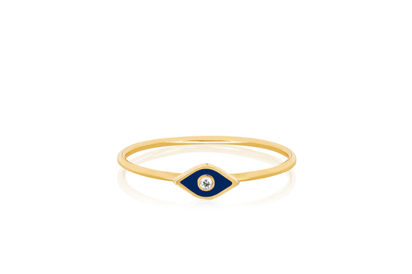 Diamond & Navy Enamel Evil Eye Stack Ring
