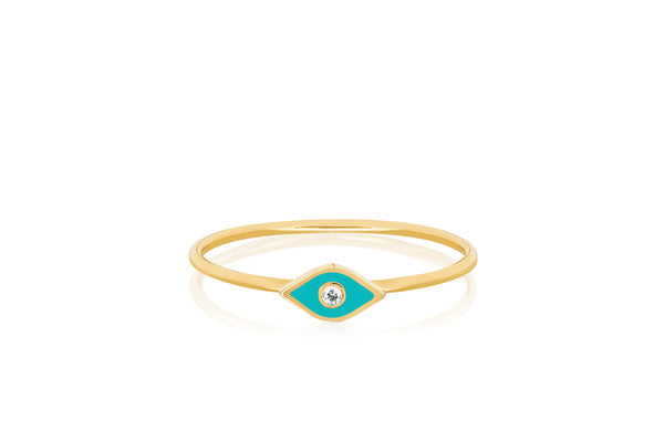 Diamond & Turquoise Enamel Evil Eye Stack Ring