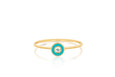 Diamond & Turquoise Enamel Bezel Stack Ring