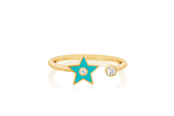 Open Diamond & Turquoise Enamel Star Ring
