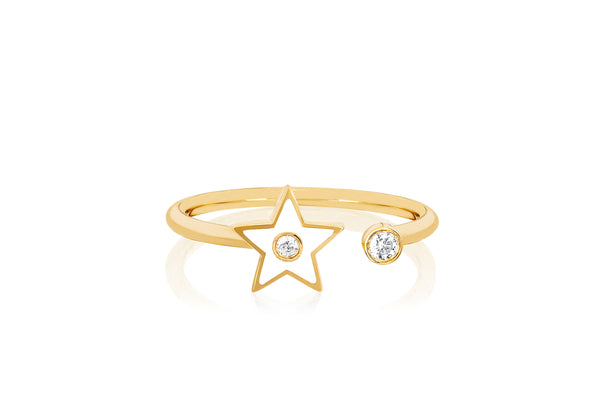 Open Diamond & White Enamel Star Ring