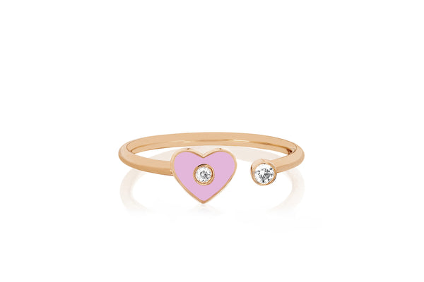 Open Diamond & Light Pink Enamel Heart Ring